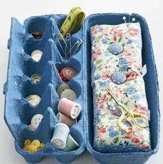 Yumurta kartonunuzu dikiş nakış kutusu olarak da kullanabilirsiniz