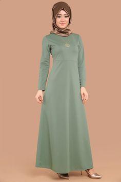 Kalp Kolyeli Tesettür Elbise Mint Ürün Kodu: UKB2020 --> 34.90 TL