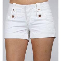 White Spring Tab Shorts