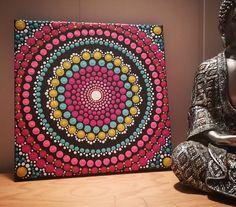 Mandala hand painted with high quality acrylic paint. Size: 20 cm x 20 cm inches) Mandala Art, Mandala Meditation, Mandala Design, Mandala Canvas, Mandala Rocks, Mandala Painting, Dot Art Painting, Stone Painting, Zen Doodle Patterns