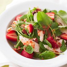 Strawberry-Spinach Salad with Citrus Dressing A warm fruit dressing tops this main-dish chicken and berry salad. It's a 30-minute meal that's great for summer evenings.