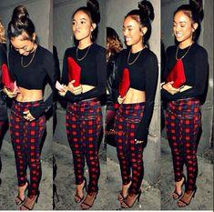 Karrueche Tran, plaid pants, black crop top, chic, stylish