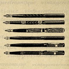 Pens Collage Sheet Printable Graphic Image Antique Illustration Digital Download Vintage Clip Art. High quality printable image. This vintage digital graphic is high resolution for making prints, iron on transfers, and many other uses. Personal or commercial use. This digital image is high quality, high resolution at 8½ x 11 inches. Transparent background PNG version included.