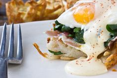 Eggs Florentine with Hollandaise in Hash Brown Nests via the Kitchn