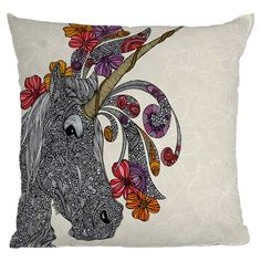 Multicolor throw pillow with an unicorn and floral motif. Designed by artist Valentina Ramos.     Product: PillowConstruction Material: Woven polyester cover and polyester fillColor: MultiFeatures:  Sealed closureInsert includedSix color dye process, custom printed for every orderDesigned by Valentina Ramos for DENY Designs Cleaning and Care: Spot treat with mild detergent