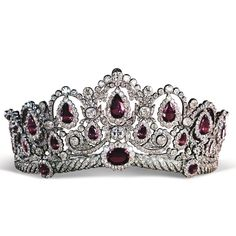 The gorgeous Westminster Bagration diamond and pink spinel tiara was sold by Chr… – Crown Jewels - To Have a Nice Day Royal Crown Jewels, Royal Crowns, Royal Tiaras, Royal Jewelry, Tiaras And Crowns, Diamond Tiara, Chaumet, Family Jewels, Circlet