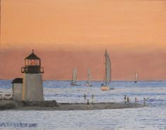 #Brantpoint #lighthouse at #sunset - #nantucket. 11 x 14 oil on canvas board. http://www.jackmckenzieart.blogspot.com/2015/12/new-painting-brand-point-lighthouse.html  #art #artist #Painting