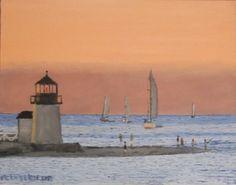#Brantpoint #lighthouse at #sunset - #nantucket. 11 x 14 oil on canvas board. http://www.jackmckenzieart.blogspot.com/2015/12/new-painting-brand-point-lighthouse.html  #art #artist #Painting