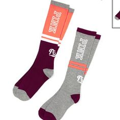 PINK Knee Socks Don't forget these cute, cozy knee-highs. Perfect for wearing out or hanging out in your dorm—plus it comes in a set of two! Only from Victoria's Secret PINK.  2 per pack Hits right below the knee Imported co PINK Victoria's Secret Accessories Hosiery & Socks