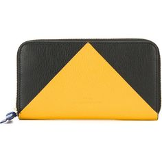 Desa 1972 Colour Block Wallet ($251) ❤ liked on Polyvore featuring bags, wallets, black, leather wallet, real leather wallet, genuine leather bag, leather bags and colorblock bag