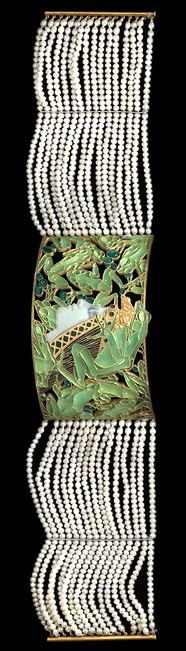 Lalique 1899 Dog Collar Plaque 'Woman's Profile Amid Frogs' | chased gold, translucent enamel, glass, pearls: inspired by the ballet 'La Princesses au Sabbat' | artistsandart.org