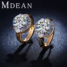MDEAN Gold Plated earrings CZ diamond jewelry fashion punk Earrings for women Brincos Bijoux wedding engagement MSE019