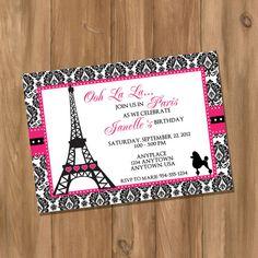 Pink Damask Paris / Parisian Chic Birthday Invitation (Digital - DIY) on Etsy, $10.00