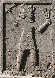 Adad is the god of storms. He is usually shown carrying a lighting fork, symbolising his power over the storm forces of nature.  The Babylonian and Assyrian god Adad was known to the Sumerians as Ishkur, and is often shown with a lion-dragon or bull. Adad's wife was the goddess Shala.