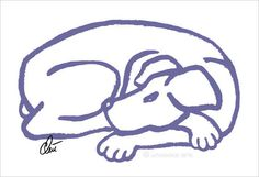 JACQUELINE DITT - Dog Blue Original Grafik handsigniert Bilder Hund Hunde Tier