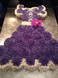 A Rapunzel pull apart cupcake cake made for a princess.