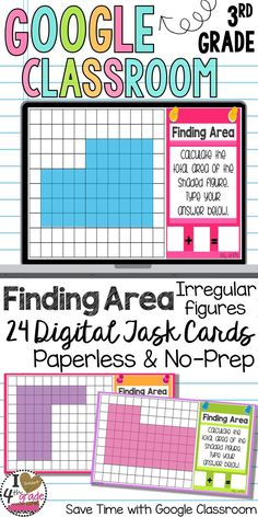 Area | Area using Square Units | Irregular Area | Google Classroom Ideas for Elementary | Google Classroom Math | Looking for paperless practice to make math more engaging? Try out these Interactive Digital Task Cards aligned to 3rd grade measurement standards. ($)
