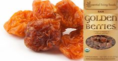 """NATURE'S SOUR PATCH KIDS! Tart and Tangy, loaded with Vitamin C and cartenoids, the """"Incan"""" superfruit proves it's super powers with one taste!  http://essentiallivingfoods.com/products/goldenberries-organic/a_aid=beca2212"""
