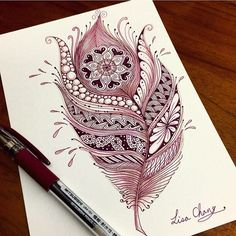 Zentangle feather artwork More