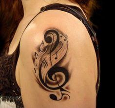 Music Note Tattoo On Shoulder #TattooModels #tattoo