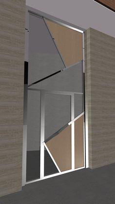 2006 Puerta N. Diseño de Ernesto Oñate de puerta de entrada para edificio de tres viviendas en Gran Vía, 19 Cehegín, Murcia. Materiales: acero, cristal, tablero fenólico con chapa de madera natural.