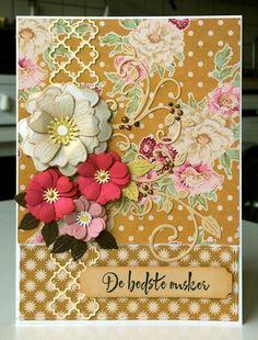 Card with flowers and flourish Tilda paper design #tilda #tildacard - JKE