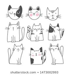 Find Cute Cat Doodle Style Illustrations Set stock images in HD and millions of other royalty-free stock photos, illustrations and vectors in the Shutterstock collection. Thousands of new, high-quality pictures added every day. Cute Cartoon Drawings, Easy Drawings, Gato Doodle, Cute Cat Drawing Easy, Gatos Vector, Cat Template, Doodle Characters, Animal Doodles, Doodle Art Journals