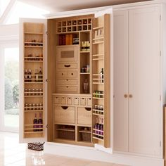 Summer style!! White and pale wood pantry kitchen cupboard!! Look at the details!