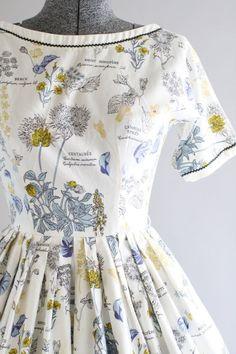 Vintage 1950s Dress / 50s Cotton Dress / LANZ White Botanical Print Dress w…