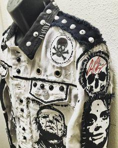 Evil A Go Go white denim jacket by Chad Cherry Punk Fashion, Gothic Fashion, Diy Fashion, Ideias Fashion, Punk Outfits, Grunge Outfits, Cool Outfits, Post Apocalyptic Costume, Punk Jackets