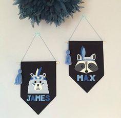 Custom raccoon or bear wall banner, monochrome wall flag, black pennant, boys room, girls room, nursery, tribal