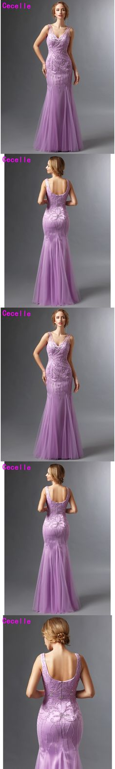 Lilac Mermaid Tulle Mother Of The Bride Dresses With Straps Long V-neck 2017 Crystal Beaded Wedding Party Gowns Gorgous Real