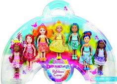 Enter the Rainbow Cove kingdom with this colorful pack of seven dolls! Each Chelsea doll represents a different color of the rainbow to complete a magical make-believe moment. Together they are a ban...