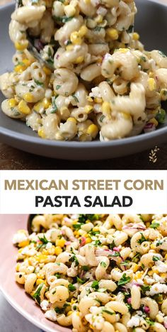 This Mexican Streed Corn Pasta salad is packed with delicious summer corn and a creamy chili lime dressing. It can be made with fresh, frozen, grilled, or canned corn. Perfect when you need to feed a crowd! recipes for dinner Mexican Food Recipes, Vegetarian Recipes, Cooking Recipes, Healthy Recipes, Lentil Recipes, Sausage Recipes, Tofu Recipes, Recipes Dinner, Vegetarian Grilling