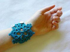Crochet Cuff Bracelet in Blue Teal Lace by LindenLeasCrochet