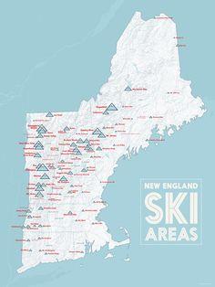 New England Ski Resorts Map 18x24 Poster Resorts Snowboarding and