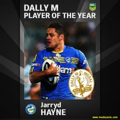 The 2014 Award goes to. Johnathan Thurston AND Jarryd Hayne! Johnathan Thurston, National Rugby League, World Of Sports, Jarryd Hayne, Best Player, Baseball Cards, Funny, Legends, Tie
