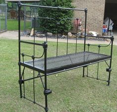 Bench made from old iron bed frame that belonged to my Mom. Have four so far.