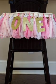 High Chair Banner || Pink and White || Tassel Garland || Gold Glitter ONE on Etsy, $27.00