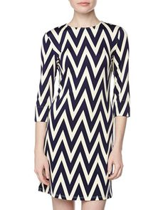 Maggie Long-Sleeve Chevron Stretch-Knit Dress, Navy/Ivory  by JB by Julie Brown at Neiman Marcus Last Call.