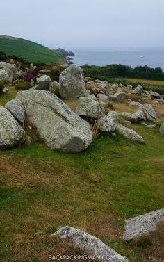 Historical remains of village on St Mary's island in the Isles of Scilly.