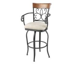Hartford Metal Barstool with Sand Microfiber Swivel-Seat and Dark Roast Frame Finish 2-Pack 30-Inch