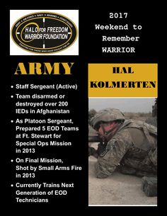 Meet 2017 Weekend to Remember Warrior Hal Kolmerten #SSG #ARMY #LeaveNoVeteranBehind 17 D 22 H 30 M to liftoff! March 22-26, 2017 www.haloforfreedom.org