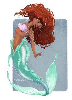 Black Girl Cartoon, Black Girl Art, Black Women Art, Black Girl Magic, Art Girl, Mermaid Disney, Ariel The Little Mermaid, Mermaid Art, Disney Fan Art