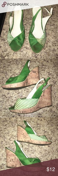 Wet Seal green and white wedge sandals Wet Seal green and white wedge sandals. Some light staining. Smoke free home. Great for St. Patrick's Day! ☘️🍀 Wet Seal Shoes Wedges