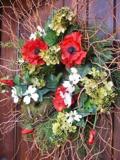 Make a Dogwood and Poppy Wreath - 25 Easter Decorating Ideas on HGTV