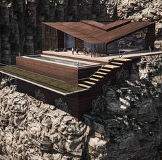Mountain house by . Another design of my own, would you want to live in the mountains? Flying Architecture, Minimalist Architecture, Amazing Architecture, Modern Architecture, Crazy Houses, Cliff House, Porches, Modern Buildings, Building Design