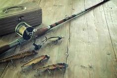Antique tackle box, bait-casting fishing rod, and lures on a grunge wood surface Stock Photo , Tackle Box, Wood Surface, Fishing Rod, Graphic Art, It Cast, Stock Photos, Bait, Antiques, Grunge