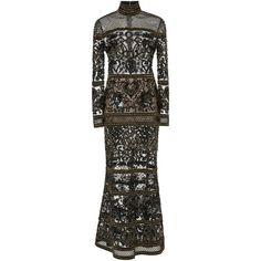 Elie Saab     Long Sleeve Beaded Dress ($12,600) ❤ liked on Polyvore featuring dresses, long dress, black, beaded dress, beading dress, longsleeve dress, long sleeve full length dress and full length dresses