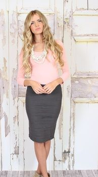 Charcoal pencil skirt *anything long-length and form-fitting appears CHIC, in the sense of its tongue-in-cheek. Work Fashion, Fashion Outfits, Womens Fashion, Skirt Fashion, Skirt Outfits, Cute Outfits, Work Attire, Office Attire, Business Outfits